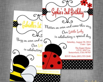 Lady Bug  or Bumble Bee Birthday Invitation