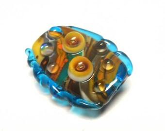 Glass Lampwork Bead Handmade Focal SRA. Turquoise, yellow, brown, orange.
