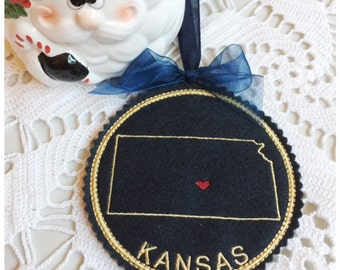 I Heart Kansas Coaster and Ornament Machine Embroidery Design Instant Download I Love Kansas with Positionable Heart