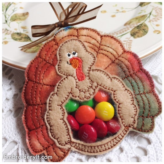 Thanksgiving Candy Holder Machine Embroidery Turkey Candy