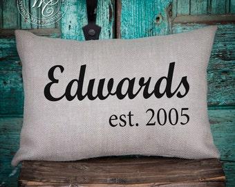 wedding gift, monogram pillow, burlap pillow, personalized pillow, personalized wedding gift, monogrammed pillow, wedding gift,