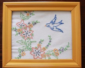 Vintage Embroidery Floral Blue Bird