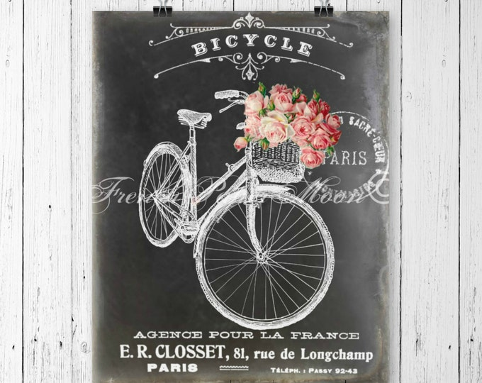 Shabby Chalkboard Bicycle Digital, Vintage Pink Roses, French Graphics, Instant Download Printable