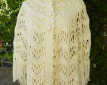 1970's Cream Crochet Poncho Cape/Cream Color Shawl Boho Poncho Sheer Open Weave, Bohemian Hippie, Vintage Retro, One Size Fringe Handmade