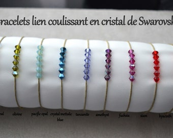 Bracelets link sliding Swarovski pearls, thread in cotton, 9 color choices