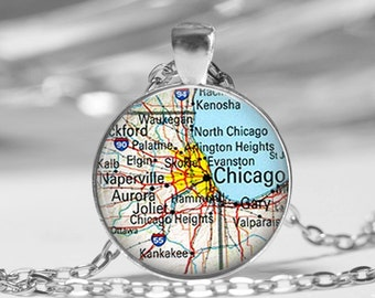 Chicago Map Pendant Necklace or Key Chain Illinois Map Jewelry Unique Gifts