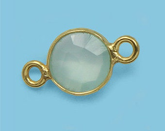 1 ea. Tiny 6mm Sea Green Chalcedony and Vermeil Bezel Connecor Link Birthstone