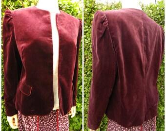 Vintage 80's Maroon Velvet puff sleeve Victorian Steampunk Bohemian jacket M L