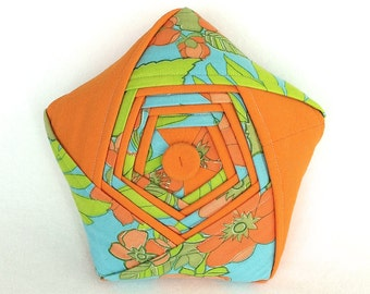 Origami Star Pillow – Unique Handmade Orange and Blue Floral Origami Star – One of a Kind Reclaimed/Vintage Plush Star