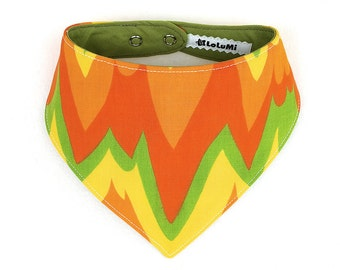 Orange Bandana Bib – Vintage and Upcycled Limited Edition Orange and Green Baby Bib - Bib #05