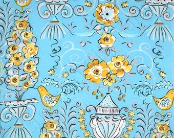 FreeSpirit Fabric by the Yard Tea Garden Honey Bush Blue DF89-BLUE