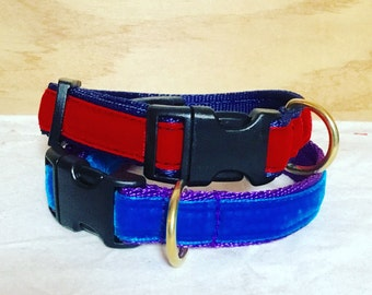 20mm Quick Release Velvet  Dog Collar Made With Velvet Trim and  Cushioned Webbing