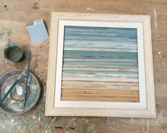 "Coastal Reclaimed Wood Art Summer Solstice- 18"" X 18"""