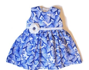 Baby Toddler Girl Dress in Blue Butterfly print sizes newborn to 6 years
