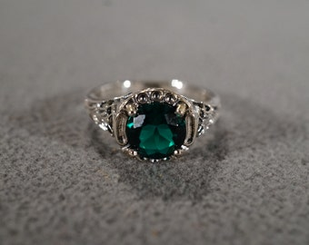 Vintage Sterling Silver Band Ring Round Green Topaz Fancy Filigree Etched Scrolled Victorian Style, Size 9