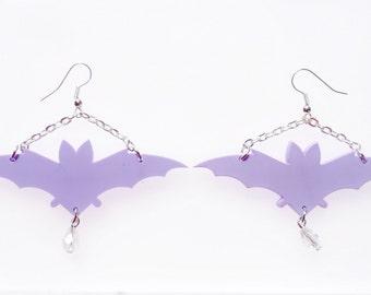 Pastel bat chandelier earrings