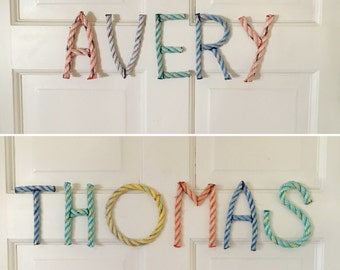 Rope Letters and Numbers - recycled lobster rope - more colors available - A through Z & # 0 through 9