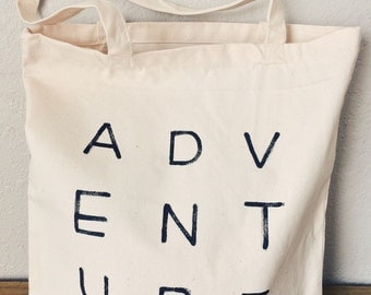 Adventure Tote Bag - Canvas Tote - Shopping Bag - Reusable Bag - Hand Painted Tote Bag