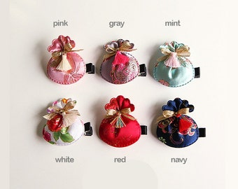 Korea traditional lucky Pocket Pouch, BOKJUMONEY hair clips /brooch/Toddler, Infant, baby, kids, women Hair clips