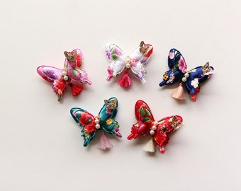 Hanbok Hair clip - butterfly pearl brooch - Korean traditional accessories
