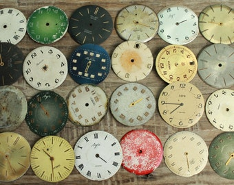 vintage watch faces ...  set of 24  watch faces USSR ...  watches dials ... circle dials ... Old Vintage watch parts ... steampunk supplies
