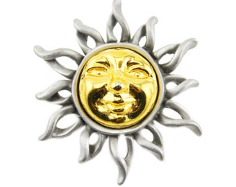 Vintage Silver and Gold Sun Brooch,  Silver Sun Brooch, Celestial Brooch, Pewter Sun Brooch