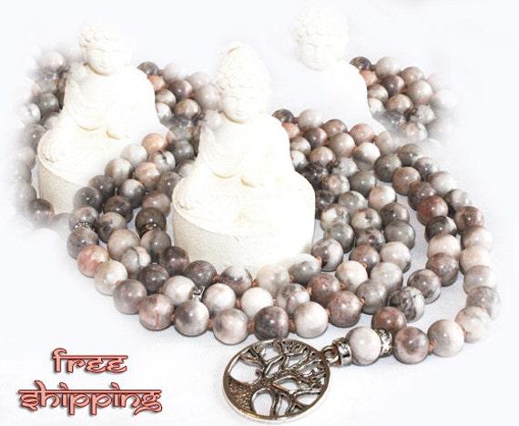 Japa Mala Hand Knotted 108 Zebra Jasper Gemstone 8mm Beads Prayer Yoga Necklace for Meditation and Mantra - free Shipping
