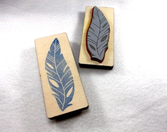 Stamp, bird feather, 8 x 2.5 cm
