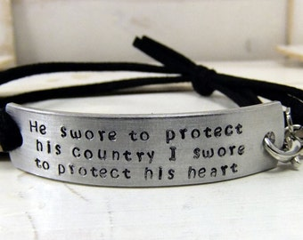 Hand Stamped Bracelet, Military Bracelet, He Swore To Protect, Army Girlfriend, Personalized Bracelet, Deployment Bracelet