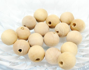 80pcs round beads natural eco friendly 15mm wood beads with hole - wooden beads - natural color, raw, beech tree