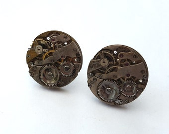 Steampunk watch cufflinks mechanisms torch soldered vintage watch movements cuff links