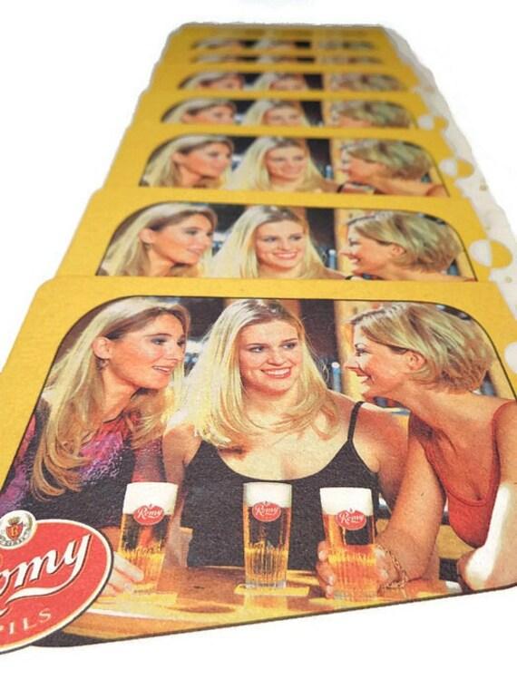 Vintage romy pils beer coasters cardboard belgian beermat - Cardboard beer coasters ...