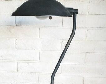 Vintage Original Machine Age Industrial Art Deco 1931 Kurt Versen Black Metal Gooseneck Torchiere Floor Lamp