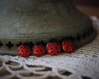 Large or Medium Sparkling Ladybug Stud Earrings!