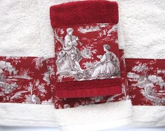 Toile D'Jouy Towels,  hand towels, bath towels, custom towels, french country, bathroom, custom towels, bath decor, towels, red cream, toile