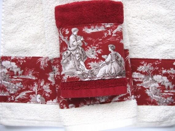 Toile Bathroom Ideas: Toile D'Jouy Towels Hand Towels Bath Towels Custom