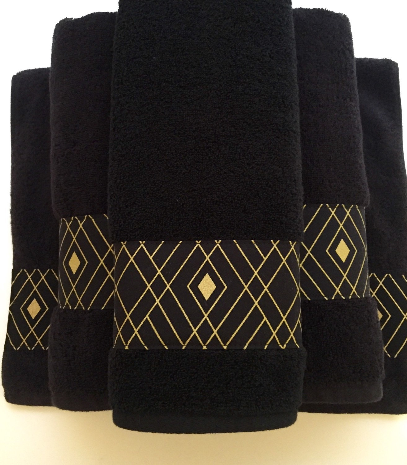Bath Towel Sets Black And White: Black Gold Towels Custom Towels Black Bathroom Black