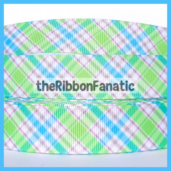 5 Yds 7 8 Quot Lime Green Aqua Blue And Grey Gray Plaid