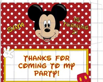 Faux Mickey Mouse Candy Wrapper, Candy Sleeve, Pocket, Set of 12