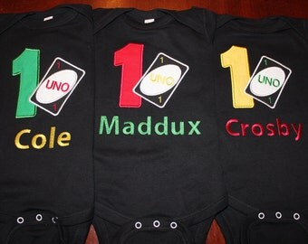 UNO Shirt or Onesie with Personalization on the Back