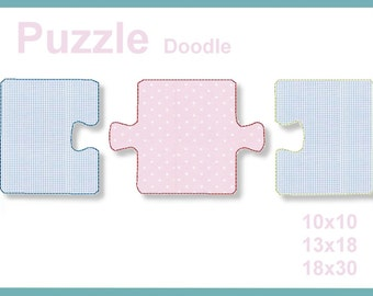 Puzzle Doodle 10 x 10 13 x 18 18 x 30 4 x 4 5 x 7 embroidery file embroidery pattern 6 embroidery patterns