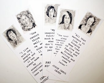 Author bookmark set women Carol Oates Virginia Woolf Carson McCullers Patricia Highsmith Susan Sontag literature black and white pics