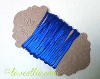 Satin Rattail Cord - Royal Blue 2mm cord - Minimum three (3) Metres - Shamballa Macrame Beading kumihimo Stringing Knotting Cord Thong