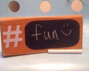 Hashtag Chalkboard Pumpkin Wood Sign Home Decor Gifts Under 15 Gift Idea Room Decor Fun Gift Idea Wooden Blocks Hashtag Chalkboard Sign D