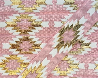 5/8 PEONY Aztec (Repeating Pattern) Fold Over Elastic
