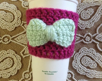 Hot Rose & Mint Bow Coffee Cozy