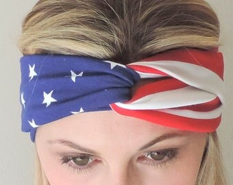 USA Headband - 4th of July - Patriotic Turban Headband - Stars and Stripes - American Headband - Red White and Blue Headband - Turban