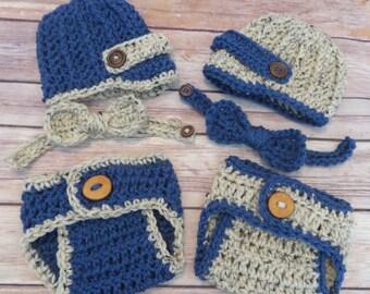 Crochet TWINS Little Mister Newsboy Hat, Diaper Cover, Bowtie, photo props, bringing home baby, shower gift, preemie, Newborn, 0-3 months