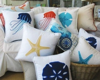 Nautical, Coastal and Beach Pillows, Ocean Themed Pillows, Starfish Pillows, Sand Dollar Pillow