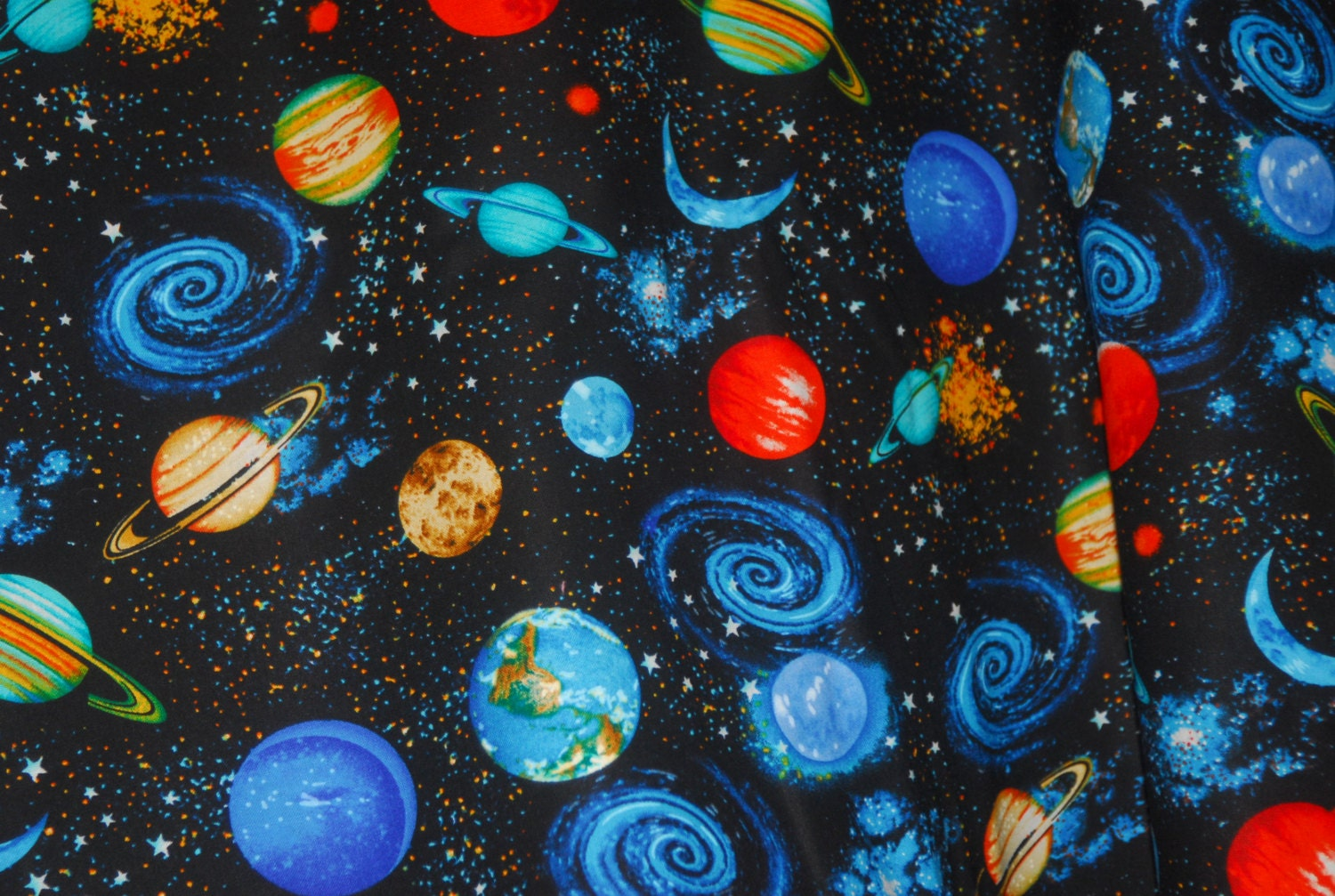 galaxy with earth fabric space planets star trek and